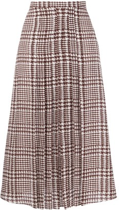 Alessandra Rich High-Waisted Houndstooth Skirt