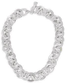 Robert Lee Morris Linked & Connected Silvertone Circle Collar Necklace