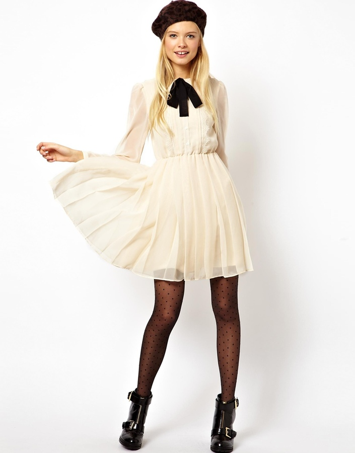 Asos Exclusive Midi Dress with Lace Bib and Pussybow