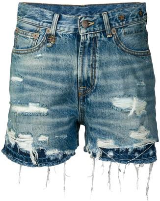 R 13 Double Hem Denim Shorts