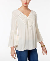 Style&Co. Style & Co Embroidered Bell-Sleeve Top, Only at Macy's