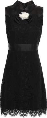 Kate Spade Satin-paneled Floral-appliqued Corded Lace Mini Dress