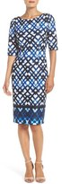 Eliza J Women's Print Ponte Sheath Dress