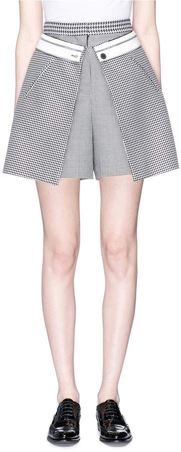 Alexander McQueen Reversed skirt overlay houndstooth skort