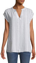 Allen Allen Split-Neck Striped Jacquard Top