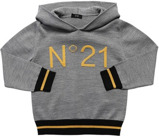 N°21 Logo Knit Wool Blend Sweater Hoodie