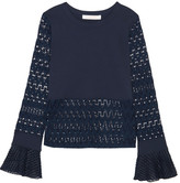 See by Chloe Embroidered Tulle-trimmed Stretch-jersey And Open-knit Top - Navy