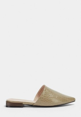 Missguided Taupe Croc Pointed Toe Flat Mules