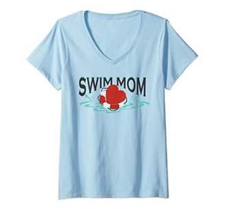 Womens Swim mom swimmer swim team mom mothers day gift for women V-Neck T-Shirt