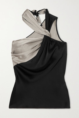 Helmut Lang Knotted Two-tone Satin Top - Black