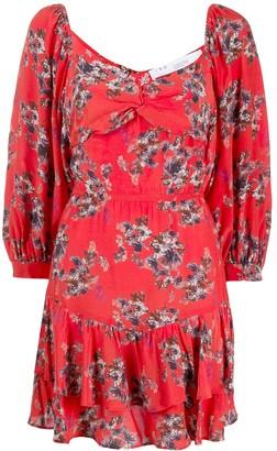 IRO Twisted Neck Floral Print Mini Dress