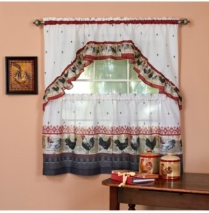 Achim Rooster Printed Tier and Swag Window Curtain Set, 57x36