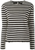R 13 shredded trim striped sweatshirt - women - Cotton - L