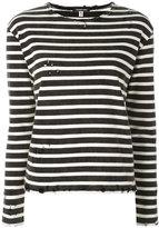 R 13 shredded trim striped sweatshirt