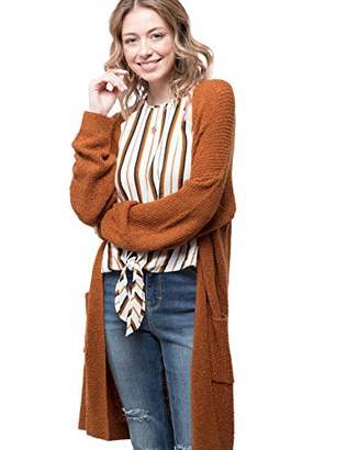August Sky Women's Open Front Long Sleeve Lacing Back Knit Sweater Cardigan--S
