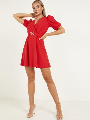 Quiz Puff Sleeve Belted Skater Dress - Red