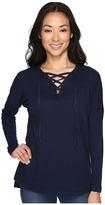 Allen Allen Long Sleeve Drop Shoulder Lace Front V-Neck Women's Long Sleeve Pullover