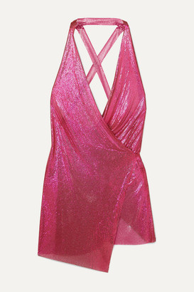 Fannie Schiavoni Maia Asymmetric Chainmail Wrap Mini Dress - Fuchsia