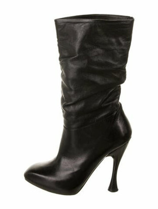 Alexander McQueen Leather Slouch Boots Black