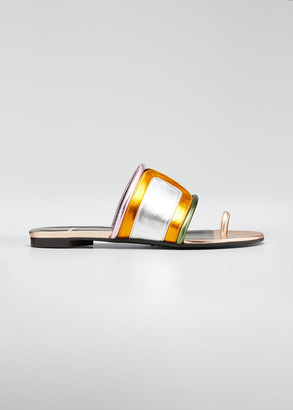 Pierre Hardy Targ Metallic Colorblock Slide Sandals