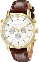 Tommy Hilfiger Men's 1790874 Gold-Plated and Brown Croco Leather Watch