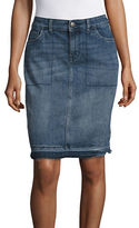 Style And Co. Petite Release Hem Denim Skirt with Tummy Control