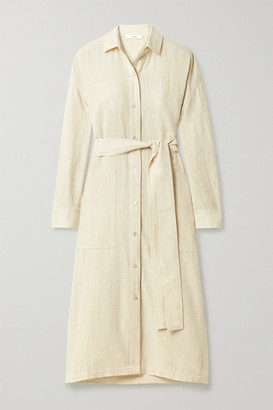 Vince Belted Cotton-blend Shirt Dress - Off-white
