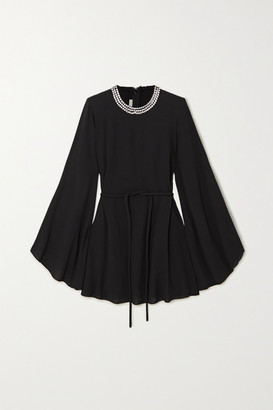 Stella McCartney Crystal-embellished Belted Crepe Mini Dress - Black