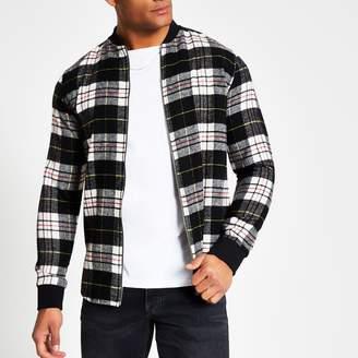 River Island Mens Black check regular fit zip front shirt
