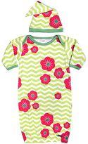 Sozo Baby Chevron Flower Sleeper Gown & Cap Set