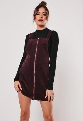 Missguided Red Denim Zip Pinafore Dress