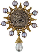 Doris Panos Coin, Pearl & Diamond Brooch