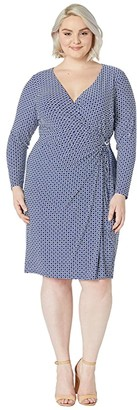 Lauren Ralph Lauren Plus Size Print Jersey Long Sleeve Dress (Parisian Blue/Colonial Cream) Women's Clothing