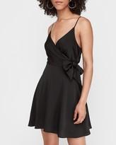 Express Satin Side Tie Wrap Dress