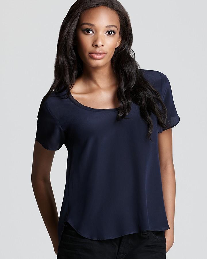 Aqua Luxe Tee Shirt - Silk Chiffon Trim
