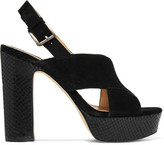 MICHAEL Michael Kors Mariana Suede And Snake-effect Leather Platorm Sandals - Black