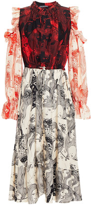 Alexander McQueen Ruffled Printed Silk-satin Twill Midi Dress