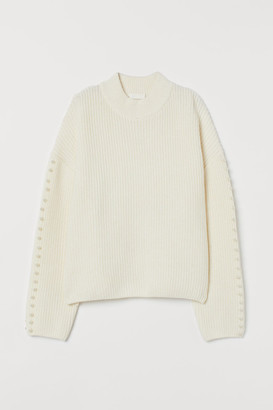 H&M Sweater with Pearlescent Beads - White