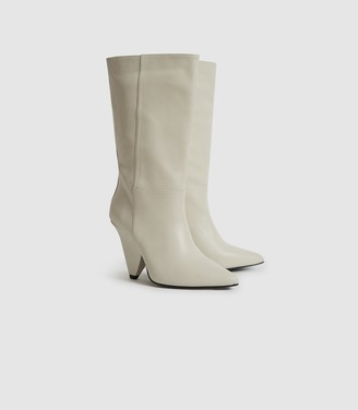 Reiss Jax - Leather Calf Length Boots in Ivory