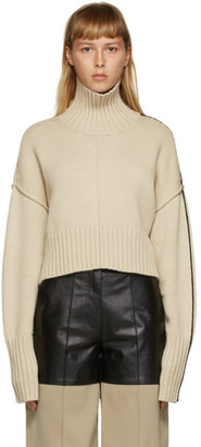 Peter Do Beige Cropped Oversized Sweater