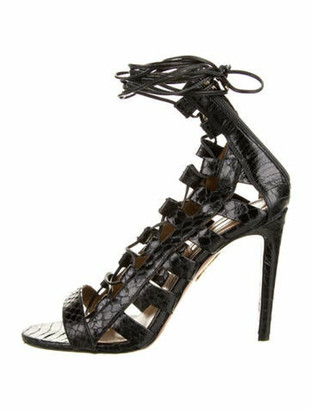 Aquazzura Embossed Leather Gladiator Sandals Black