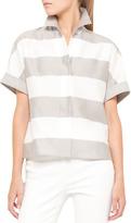 Akris Punto Short-Sleeve Awning Stripe Blouse