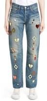 Women's Tu Es Mon Tresor Mirror Motif Jeans