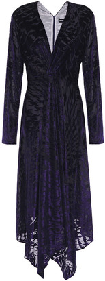 House of Holland Asymmetric Devore-velvet Midi Dress