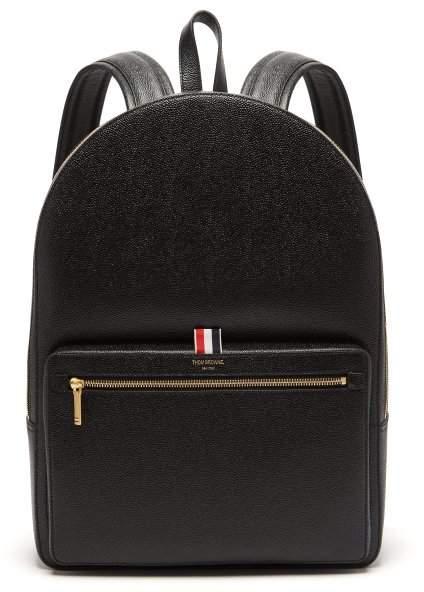 Thom Browne Pebbled Leather Backpack - Mens - Black