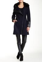 Rachel Roy Faux Fur Trim Collar & Faux Leather Trim Wool Blend Coat