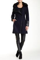 Rachel Roy Faux Fur Trim Collar Wool Blend Coat