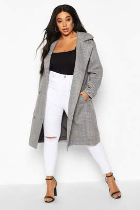 boohoo Plus Wool Look Prince Of Wales Check Trench Coat