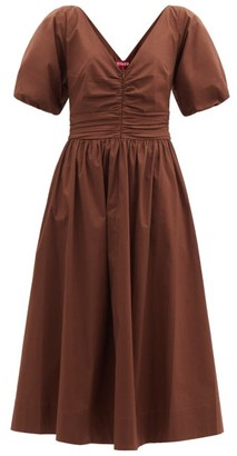 STAUD Greta Ruched Cotton-blend Dress - Brown