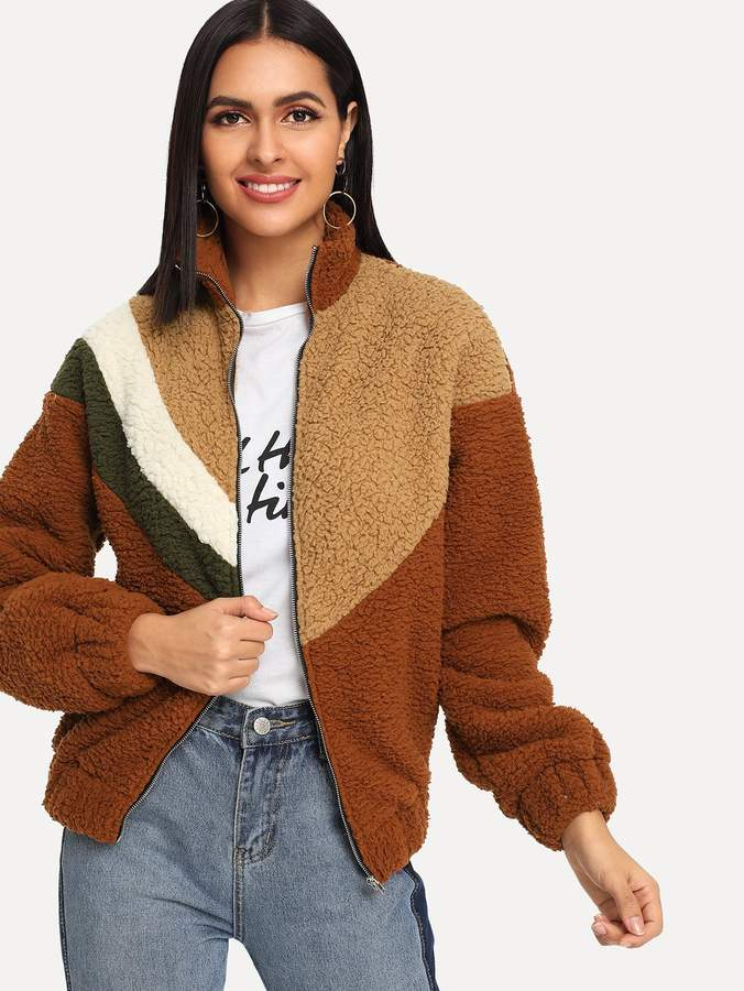 Shein Zip Up Color-Block Teddy Jacket
